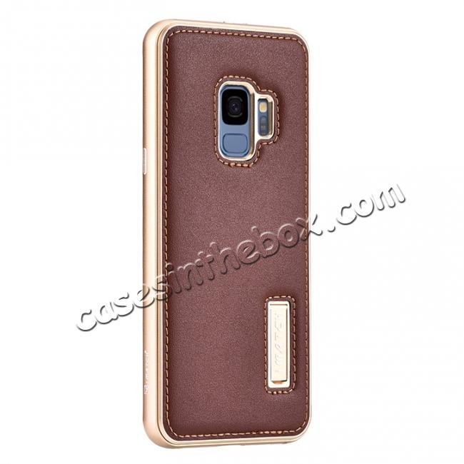 wholesale Luxury Aluminum Genuine Leather Back Cover Case For Samsung Galaxy S9 Plus - Gold&Brown