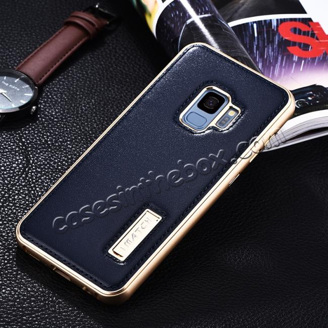 discount Luxury Aluminum Genuine Leather Back Cover Case For Samsung Galaxy S9 Plus - Gold&Dark Blue