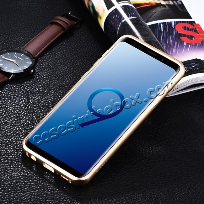 cheap Luxury Aluminum Genuine Leather Back Cover Case For Samsung Galaxy S9 Plus - Gold&Dark Blue