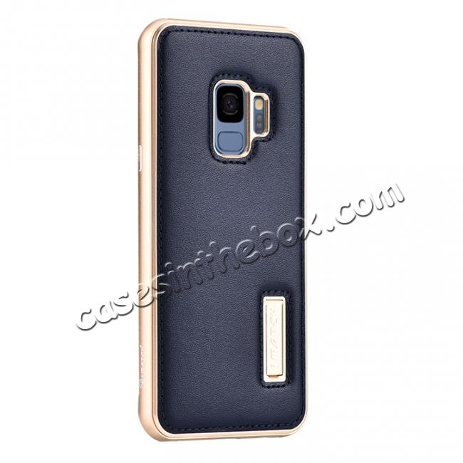 wholesale Luxury Aluminum Genuine Leather Back Cover Case For Samsung Galaxy S9 Plus - Gold&Dark Blue