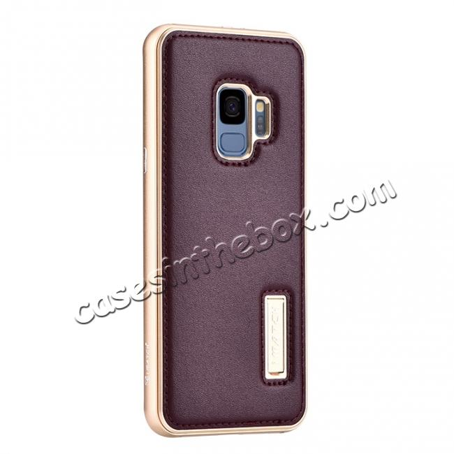 wholesale Luxury Aluminum Genuine Leather Back Cover Case For Samsung Galaxy S9 Plus - Gold&Wine Red