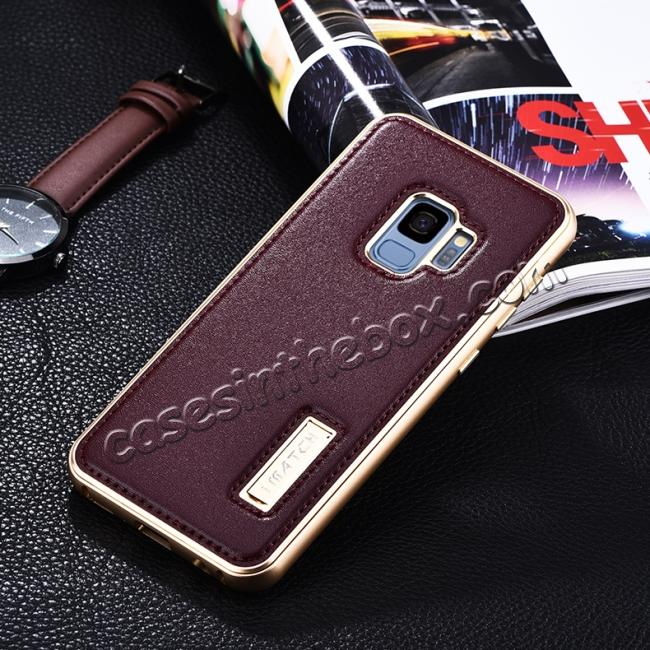 discount Luxury Aluminum Genuine Leather Back Cover Case For Samsung Galaxy S9 Plus - Gold&Wine Red