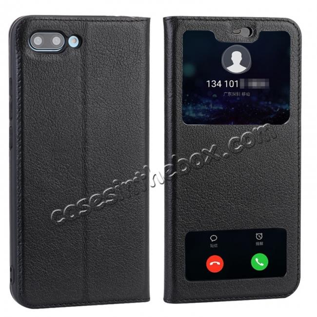 wholesale Luxury Genuine Leather Double Open Window S View Flip Case for Huawei Honor 10 - Black