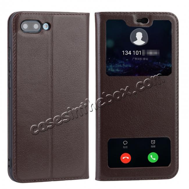 wholesale Luxury Genuine Leather Double Open Window S View Flip Case for Huawei Honor 10 - Coffee