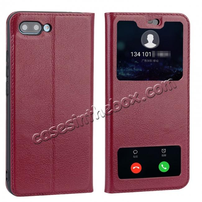 wholesale Luxury Genuine Leather Double Open Window S View Flip Case for Huawei Honor 10 - Red