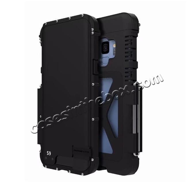 wholesale R-JUST Aluminum Metal Shockproof Full Cover Case For Samsung Galaxy S9 - Black