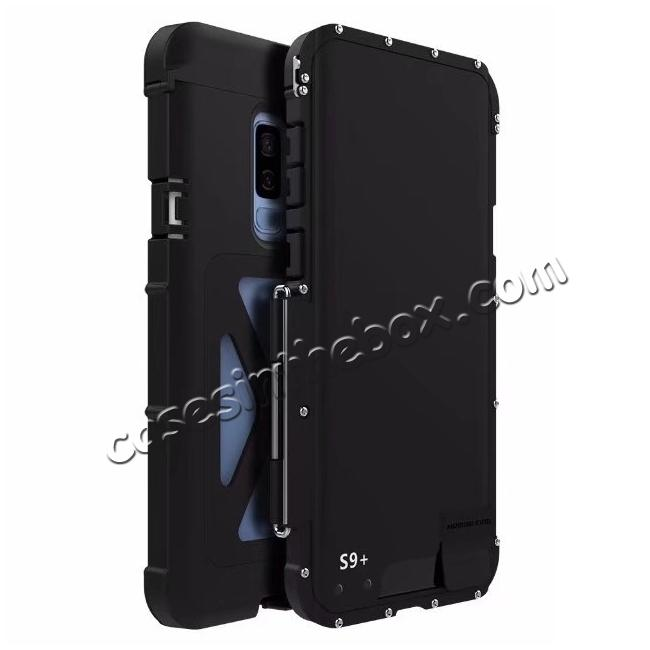 wholesale R-JUST Aluminum Metal Shockproof Full Cover Case For Samsung Galaxy S9 Plus - Black