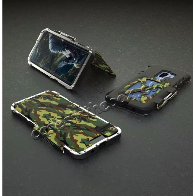 discount R-JUST Aluminum Metal Shockproof Full Cover Case For Samsung Galaxy S9 Plus - Camouflage