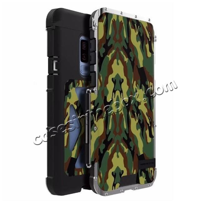 wholesale R-JUST Aluminum Metal Shockproof Full Cover Case For Samsung Galaxy S9 Plus - Camouflage