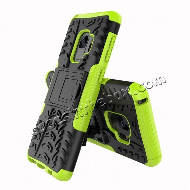 cheap Rugged Armor Shockproof Kickstand Plastic Cover Case For Samsung Galaxy S9 - Green