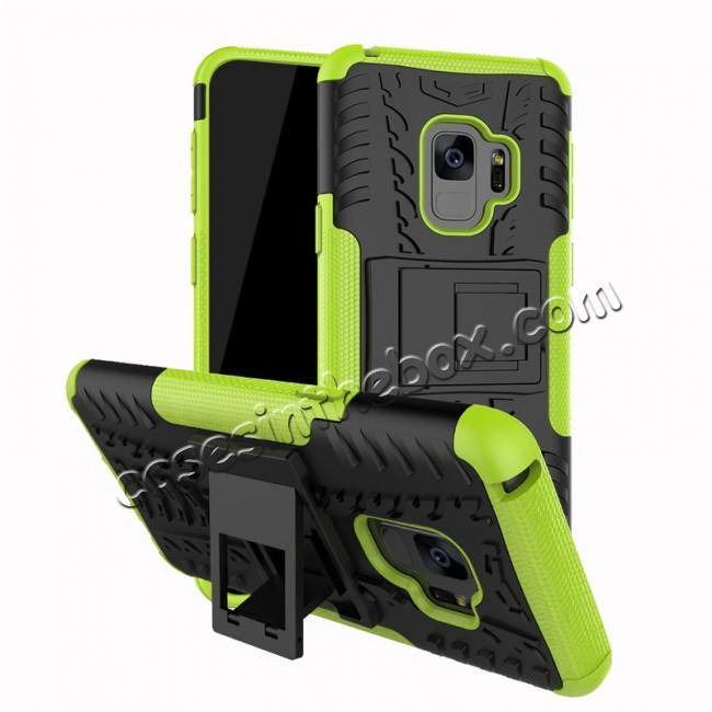 wholesale Rugged Armor Shockproof Kickstand Plastic Cover Case For Samsung Galaxy S9 - Green