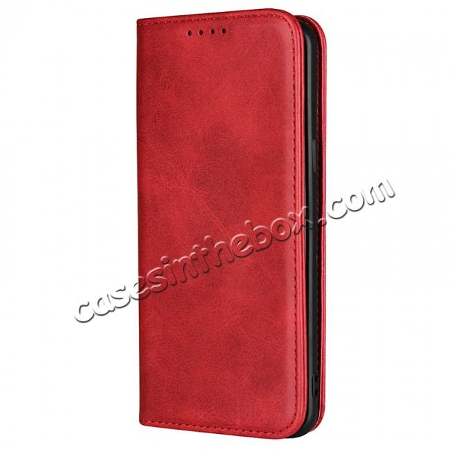 discount S9 Leather Wallet Case Premium Leather Slim Flip Wallet Case for Samsung Galaxy S9 - Red