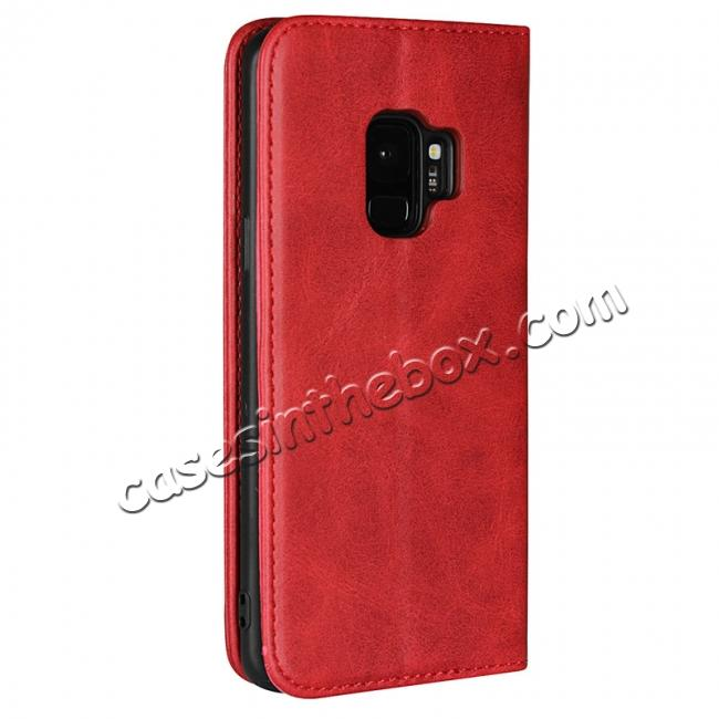 cheap S9 Leather Wallet Case Premium Leather Slim Flip Wallet Case for Samsung Galaxy S9 - Red