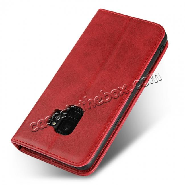 best price S9 Leather Wallet Case Premium Leather Slim Flip Wallet Case for Samsung Galaxy S9 - Red