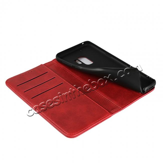 low price S9 Leather Wallet Case Premium Leather Slim Flip Wallet Case for Samsung Galaxy S9 - Red