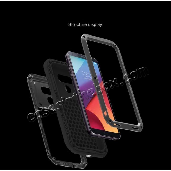 top quality Shockproof Aluminum Metal Super Anti Shake Silicone Protection Case Gorilla Glass for LG G7 / G7 ThinQ - Black