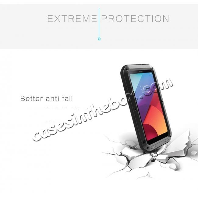 best price Shockproof Aluminum Metal Super Anti Shake Silicone Protection Case Gorilla Glass for LG G7 / G7 ThinQ - Black