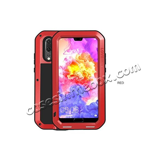 wholesale Shockproof Dustproof Aluminum Metal Tempered Glass Case For Huawei P20 Pro - Red