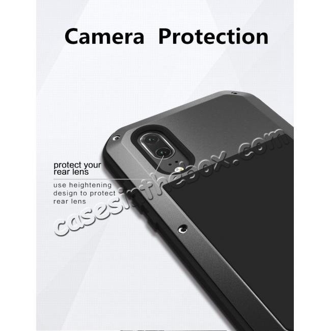 best price Shockproof Dustproof Aluminum Metal Tempered Glass Case For Huawei P20 Pro - Silver