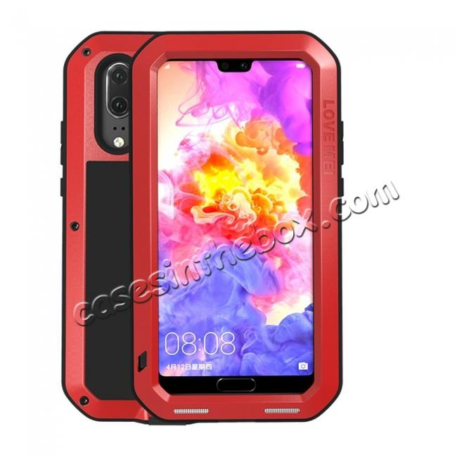 wholesale Shockproof Dustproof Aluminum Metal Tempered Glass Case For Huawei P20 - Red