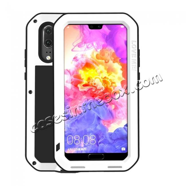 wholesale Shockproof Dustproof Aluminum Metal Tempered Glass Case For Huawei P20 - White