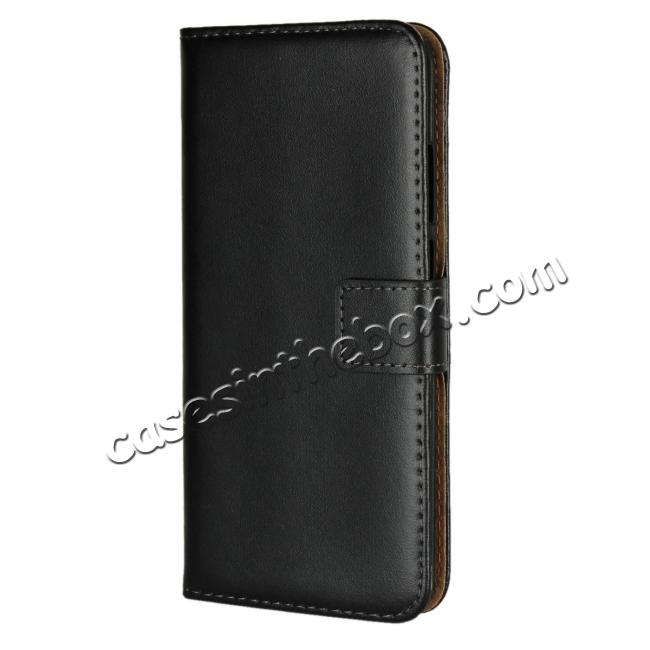 discount Ultra Slim Genuine Leather Flip Case Stand Wallet for Huawei P20  - Black