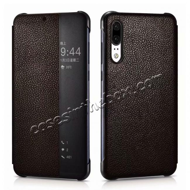 wholesale XOOMZ Lichee Pattern View Window Genuine Leather Case For HuaWei P20 - Coffee