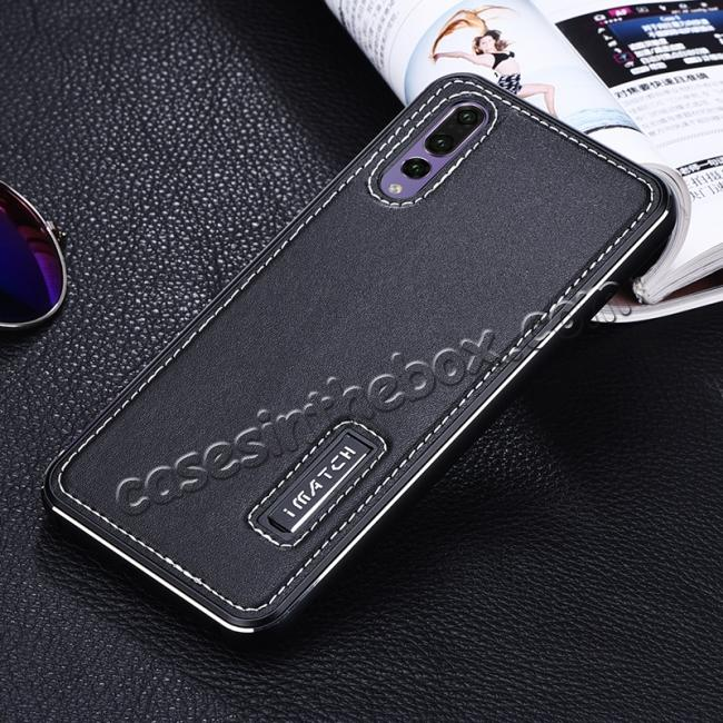 cheap Aluminum Bumper Genuine Leather Cover Stand Case for HuaWei P20 - Black