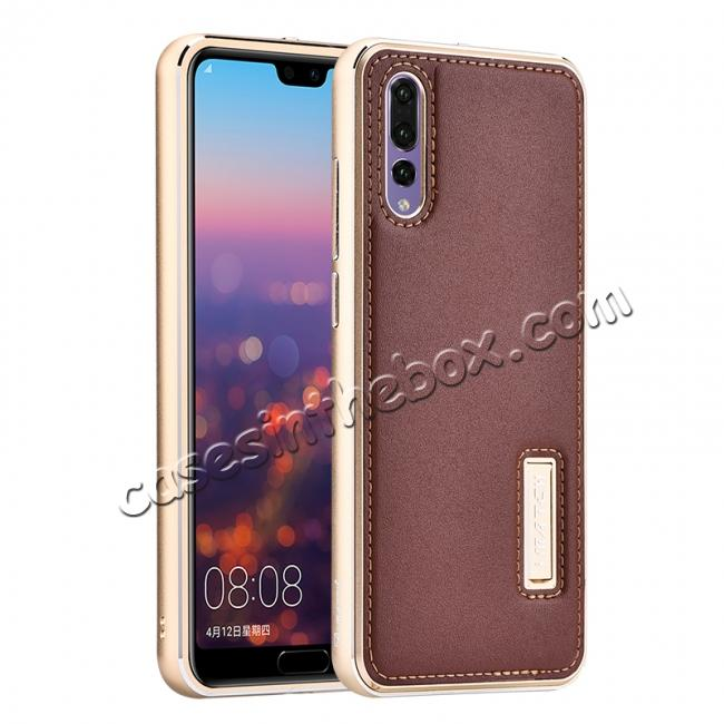 wholesale Aluminum Bumper Genuine Leather Cover Stand Case for HuaWei P20 - Gold&Brown