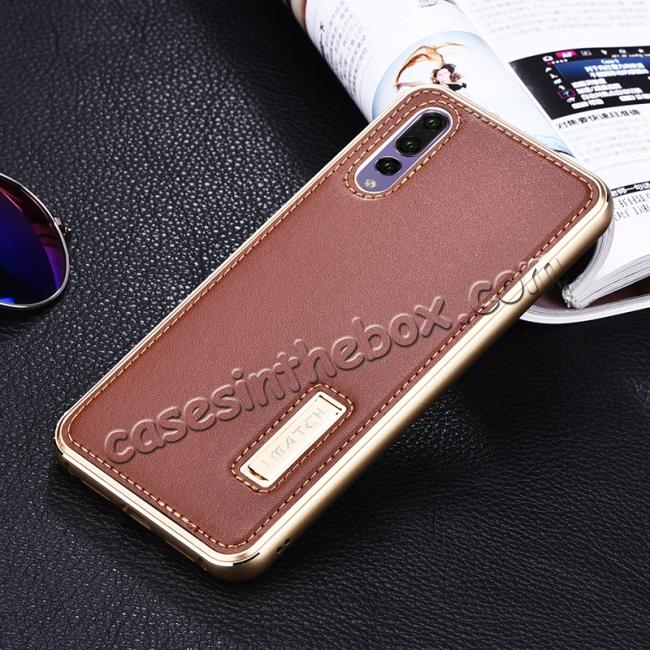 cheap Aluminum Bumper Genuine Leather Cover Stand Case for HuaWei P20 - Gold&Brown