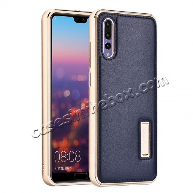 wholesale Aluminum Bumper Genuine Leather Cover Stand Case for HuaWei P20 - Gold&Dark Blue