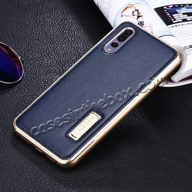 discount Aluminum Bumper Genuine Leather Cover Stand Case for HuaWei P20 - Gold&Dark Blue