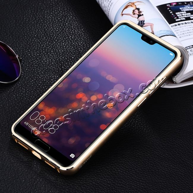 cheap Aluminum Bumper Genuine Leather Cover Stand Case for HuaWei P20 - Gold&Dark Blue