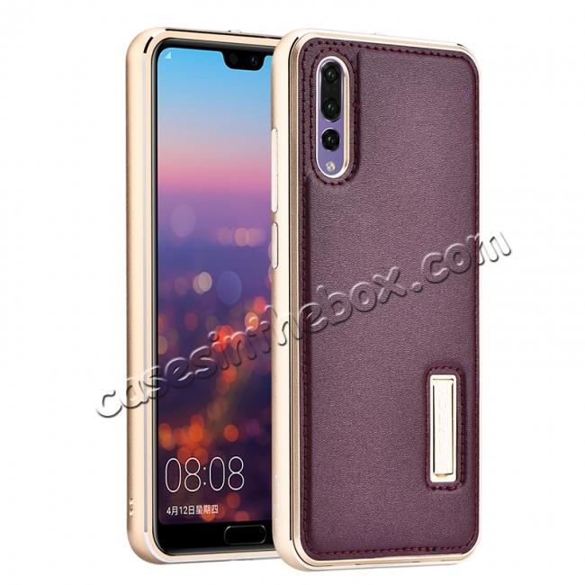 wholesale Aluminum Bumper Genuine Leather Cover Stand Case for HuaWei P20 - Gold&Wine Red