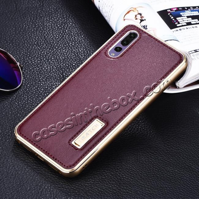 cheap Aluminum Bumper Genuine Leather Cover Stand Case for HuaWei P20 - Gold&Wine Red