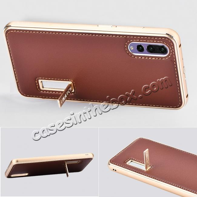 top quality Aluminum Bumper Genuine Leather Cover Stand Case for HuaWei P20 - Gold&Wine Red