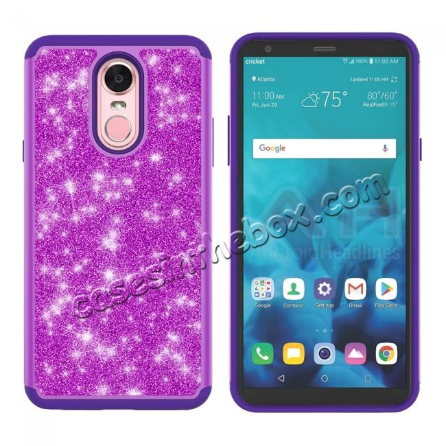 discount Fashion Glitter Bling Design Dual Layer Hybrid Protective Phone Case for LG Stylo 4 - Purple