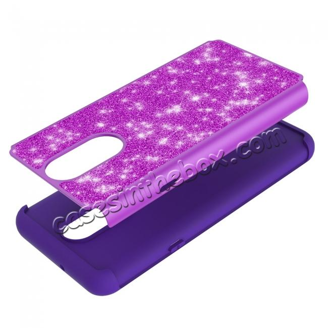 low price Fashion Glitter Bling Design Dual Layer Hybrid Protective Phone Case for LG Stylo 4 - Purple