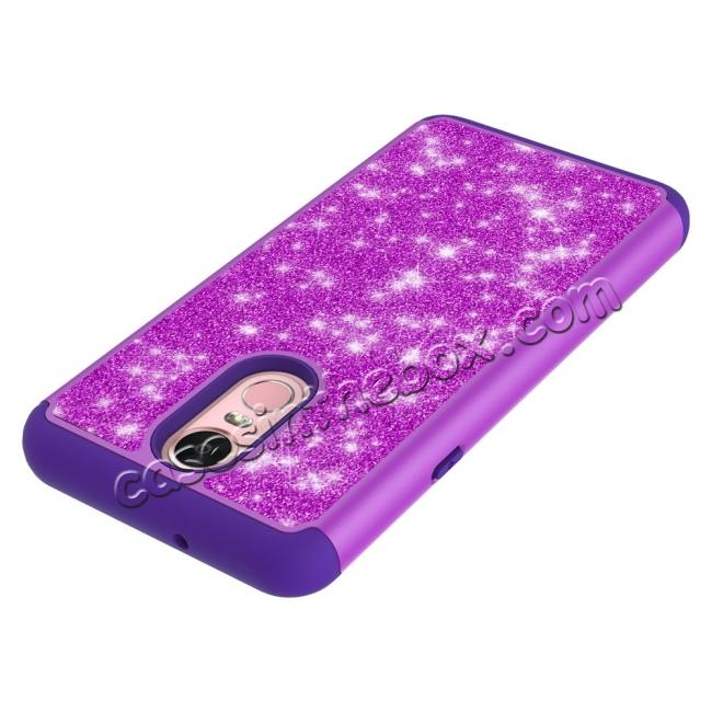 best price Fashion Glitter Bling Design Dual Layer Hybrid Protective Phone Case for LG Stylo 4 - Purple