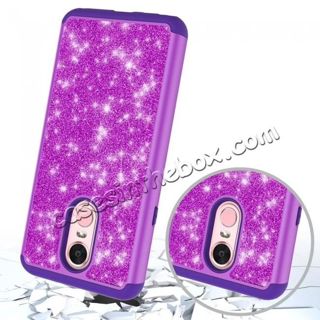 top quality Fashion Glitter Bling Design Dual Layer Hybrid Protective Phone Case for LG Stylo 4 - Purple
