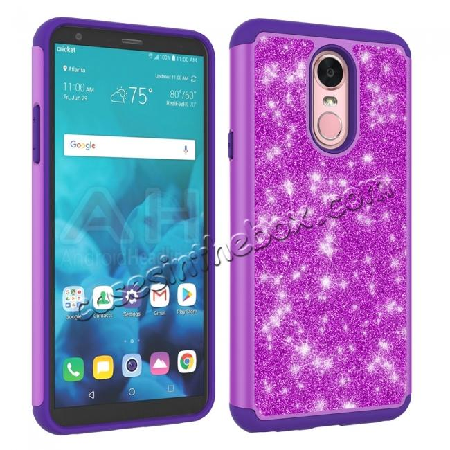 cheap Fashion Glitter Bling Design Dual Layer Hybrid Protective Phone Case for LG Stylo 4 - Purple