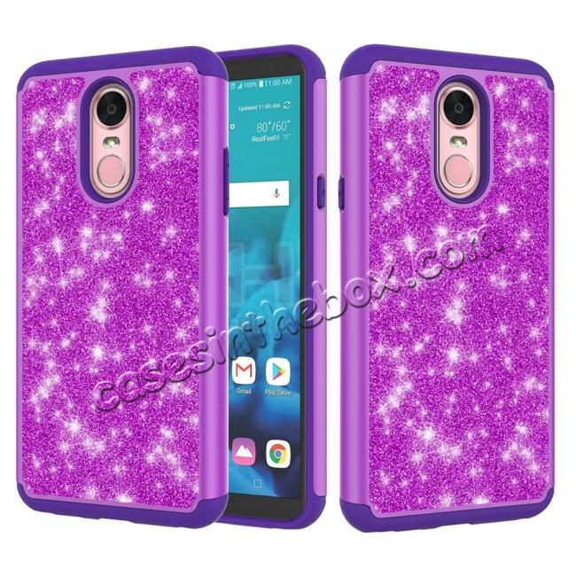 wholesale Fashion Glitter Bling Design Dual Layer Hybrid Protective Phone Case for LG Stylo 4 - Purple