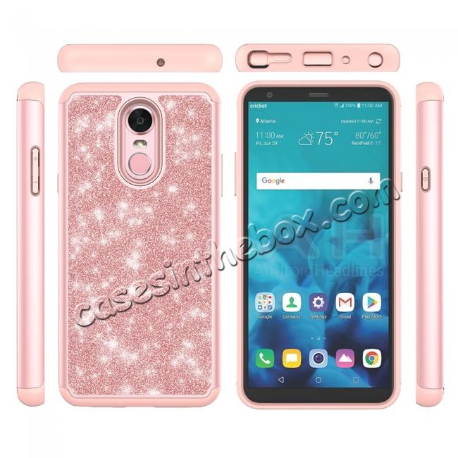 high quanlity Fashion Glitter Bling Design Dual Layer Hybrid Protective Phone Case for LG Stylo 4 - Rose gold