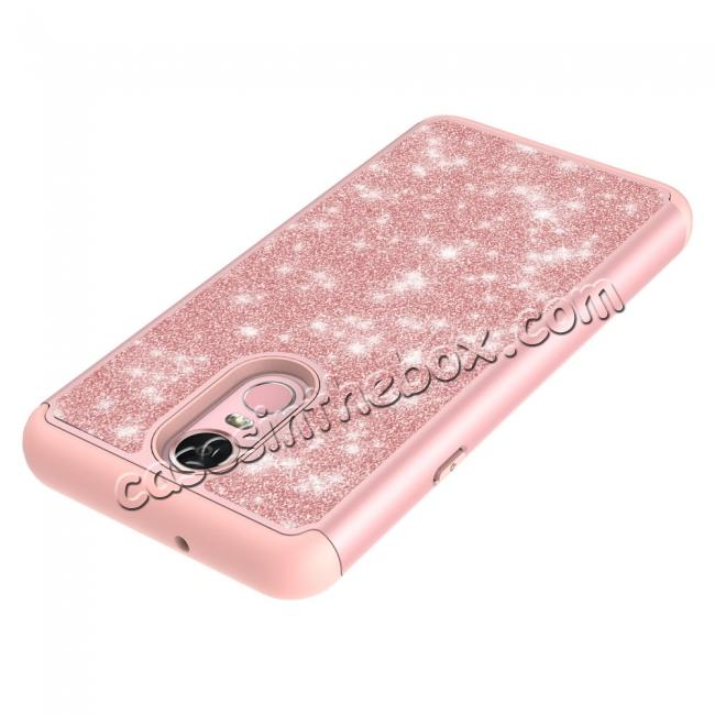best price Fashion Glitter Bling Design Dual Layer Hybrid Protective Phone Case for LG Stylo 4 - Rose gold