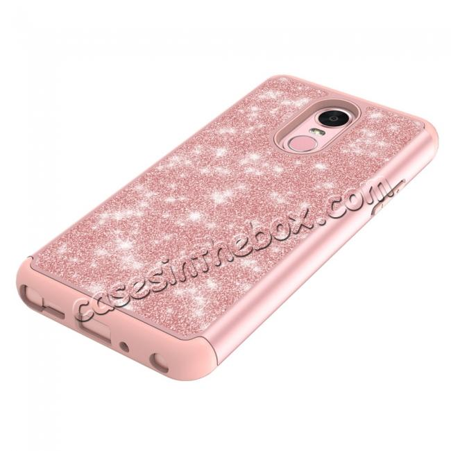 on sale Fashion Glitter Bling Design Dual Layer Hybrid Protective Phone Case for LG Stylo 4 - Rose gold