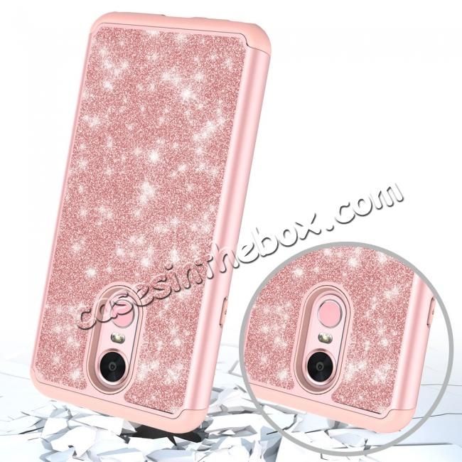 top quality Fashion Glitter Bling Design Dual Layer Hybrid Protective Phone Case for LG Stylo 4 - Rose gold