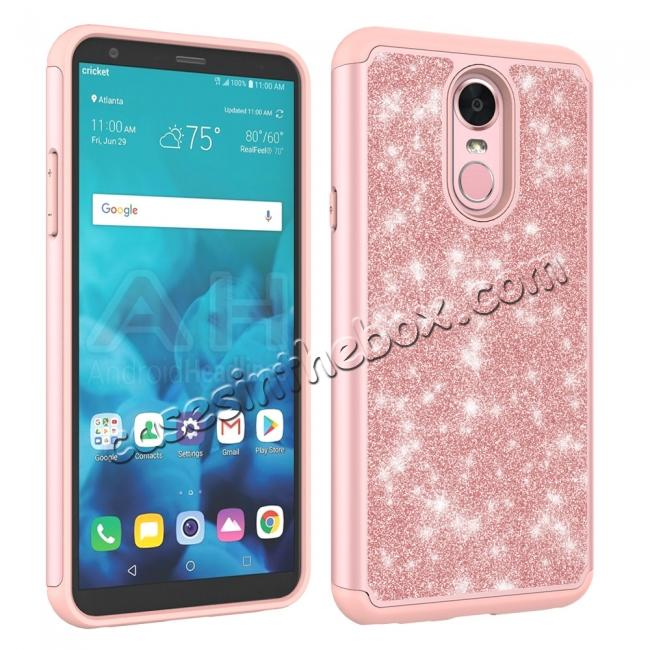 cheap Fashion Glitter Bling Design Dual Layer Hybrid Protective Phone Case for LG Stylo 4 - Rose gold