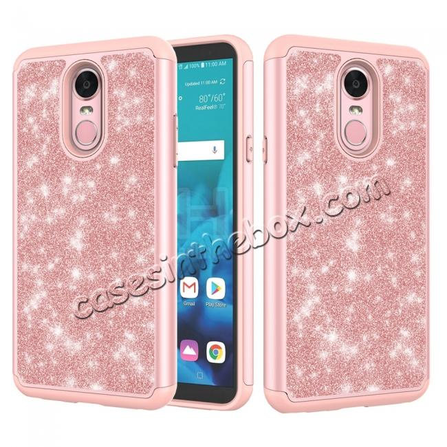wholesale Fashion Glitter Bling Design Dual Layer Hybrid Protective Phone Case for LG Stylo 4 - Rose gold