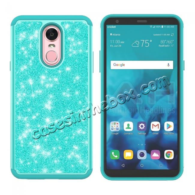 discount Fashion Glitter Bling Design Dual Layer Hybrid Protective Phone Case for LG Stylo 4 - Teal