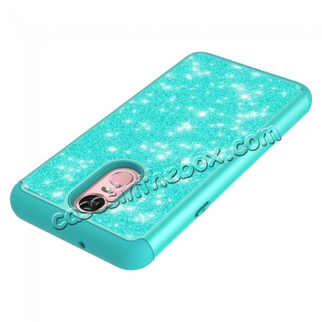 best price Fashion Glitter Bling Design Dual Layer Hybrid Protective Phone Case for LG Stylo 4 - Teal